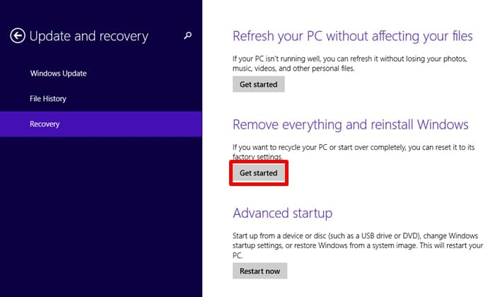 how to reset a samsung notebook back to factory settings in Windows 8