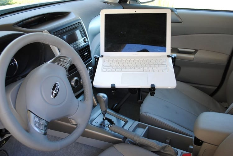 laptop in the car